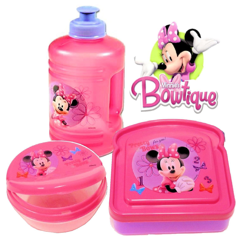Disney Minnie Mouse Bow-tique Lunch Set (Water Bottle, Snack Box & Sandwich Box) (Pink) Minnie Mouse Bowtique