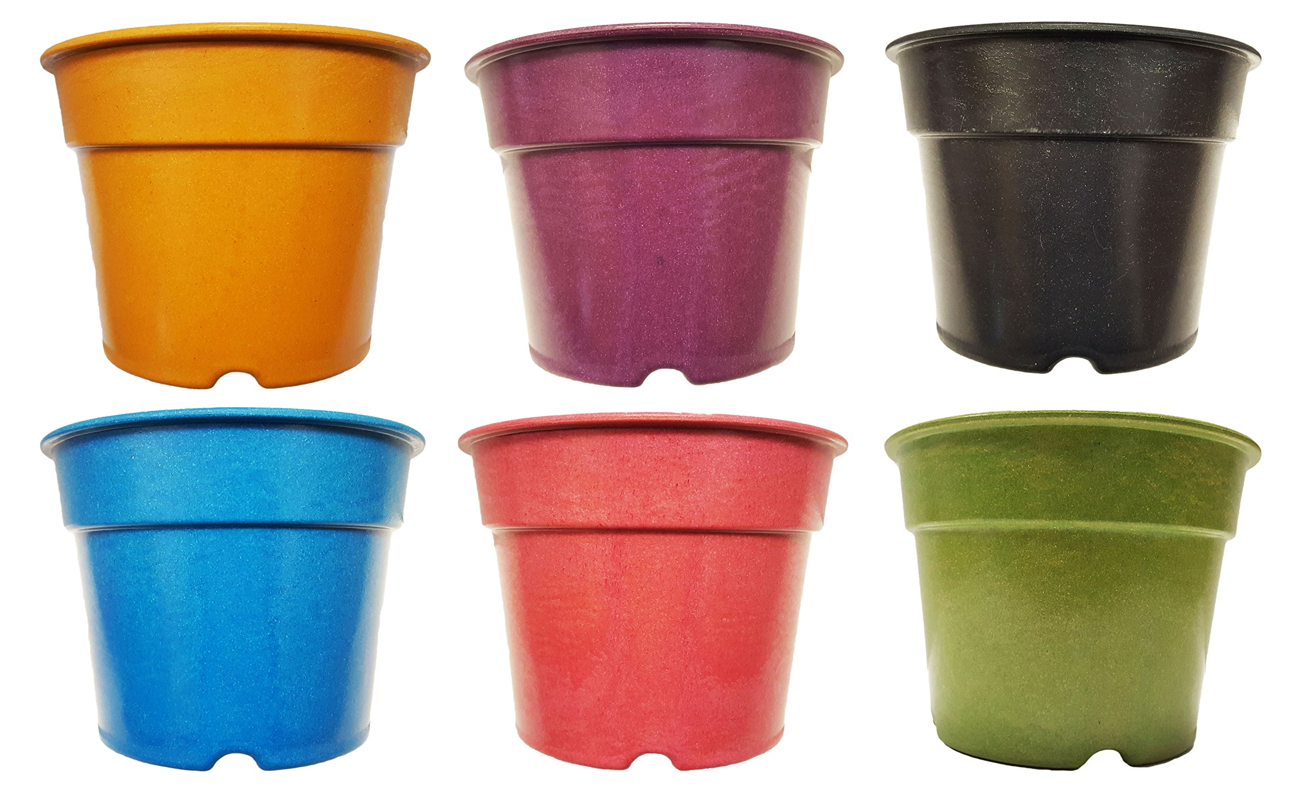 """Set of 6 Multicolored Round 7'' x 5"""" Biodegradable Bamboo Fiber Planters"""