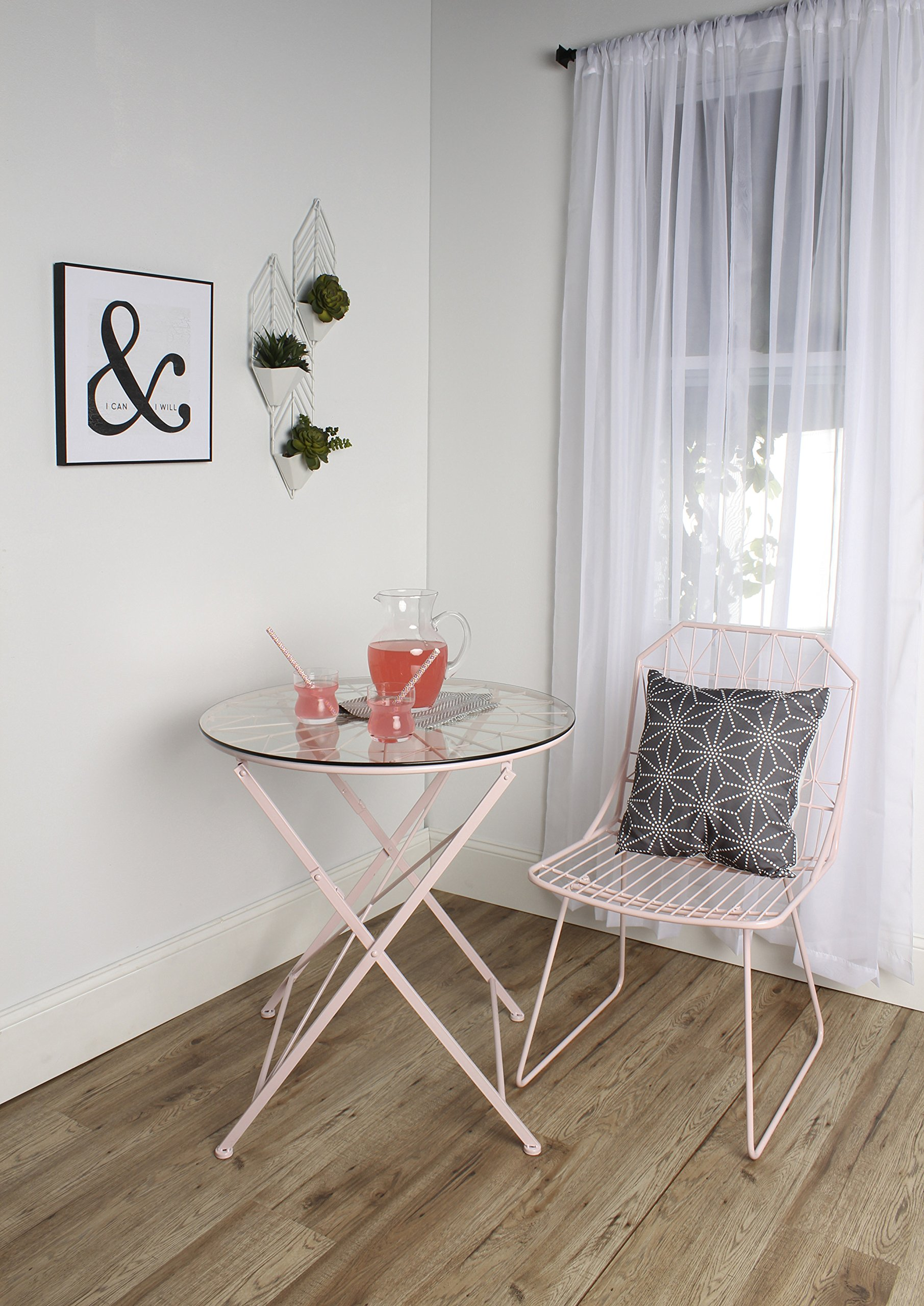Kate and Laurel Kate & Laurel Thrapston Metal & Glass Round Dining Table, Pink by Kate and Laurel (Image #5)