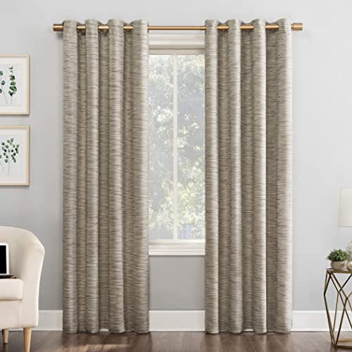 Sun Zero Kendrick 2-Pack Woven Stri Thermal Extreme 100 Blackout Grommet Curtain Panel Pair