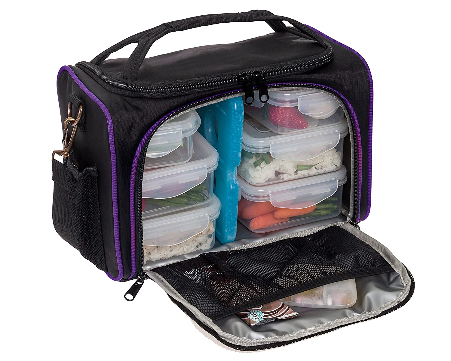 Meal Prep Bag by LISH - Insulated Lunch Box w/ 6 Portion Control Containers, Black & Purple