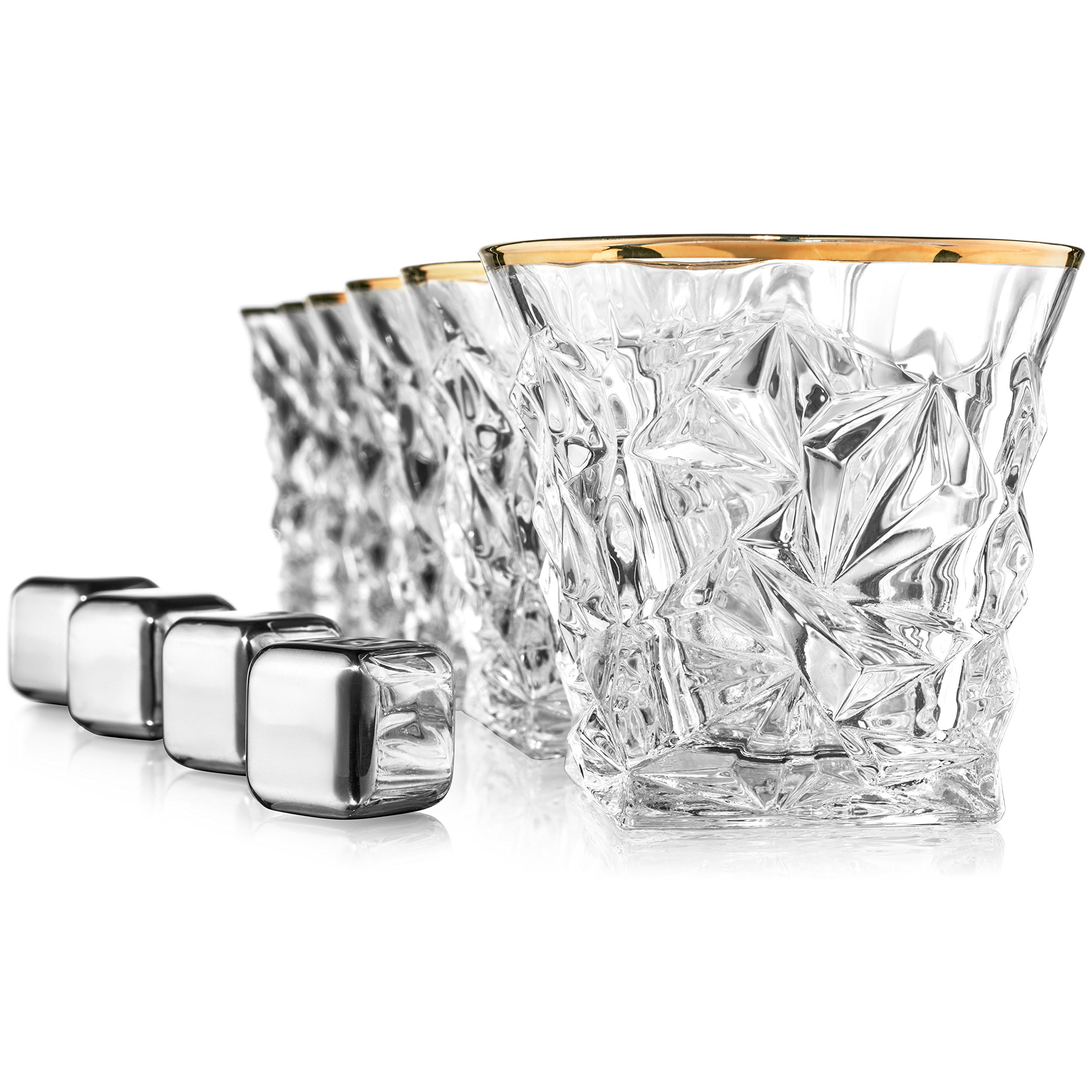 Posh Five Whiskey Glasses Set of 6 Diamond Scotch Glasses + 4 Stainless Steel Whiskey Stones by Posh Five Trading Co (Image #9)