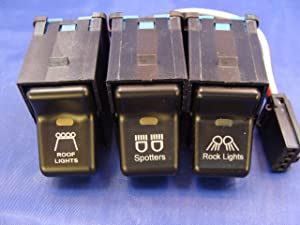 Jeep 1997-2006 TJ Wrangler Rocker Switch 3 Switch Kit- Roof Lights, Spotters, Rock Lights 3 Pack with Pig Tails