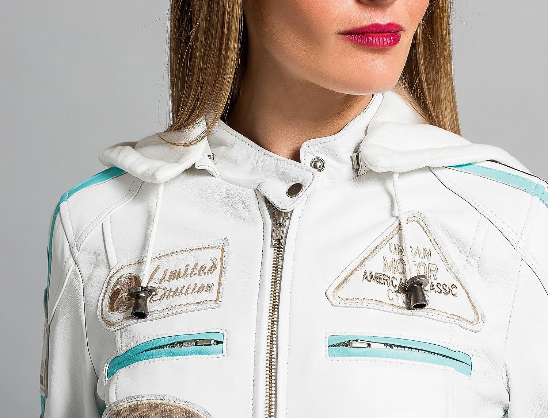 Urban Leather 58 Veste de Moto pour Femmes avec Protections Noir-M
