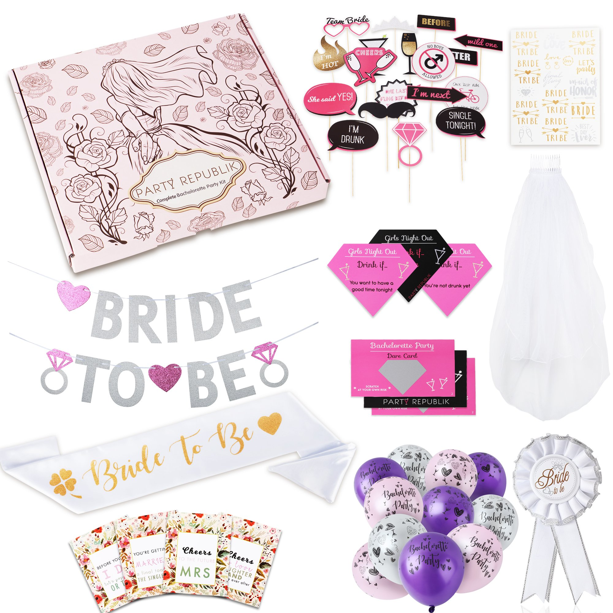 Complete Bachelorette Party Kit (124-Pieces) - Saving You Time and Money - Includes Bachelorette Party Games, Bridal Shower Decorations, Photobooth Props, Banner, Bride to Be Sash, Pin, Veil and Flash
