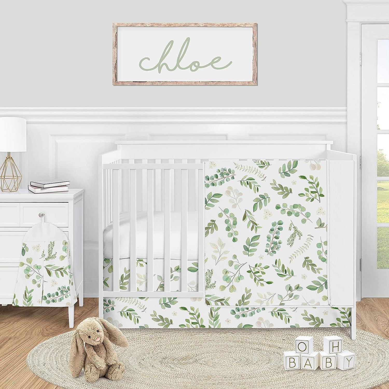 Sweet Jojo Designs Floral Leaf Baby Girl Nursery Crib Bedding Set - 4 Pieces - Green and White Boho Watercolor Botanical Woodland Tropical Garden