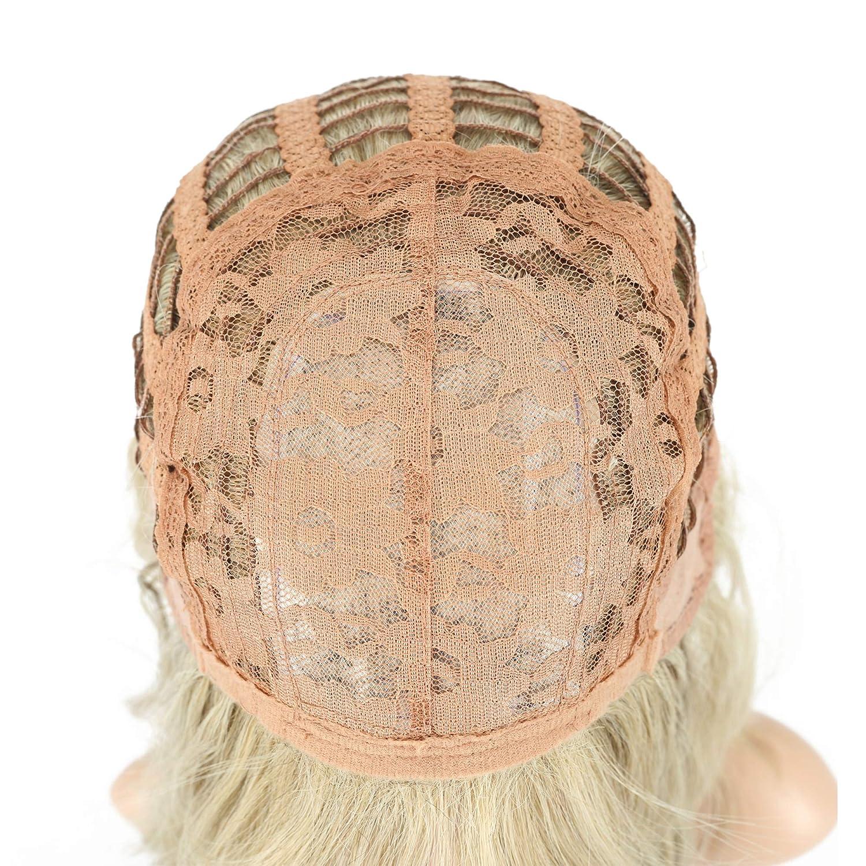Wavy Wig Short Bob Wigs, Curly Wavy Cosplay Short Wig With Air Bangs - Mix Khaki