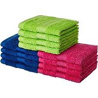 Amazon Brand - Solimo 100% Cotton 12 Piece Face Towel Set, 500 GSM