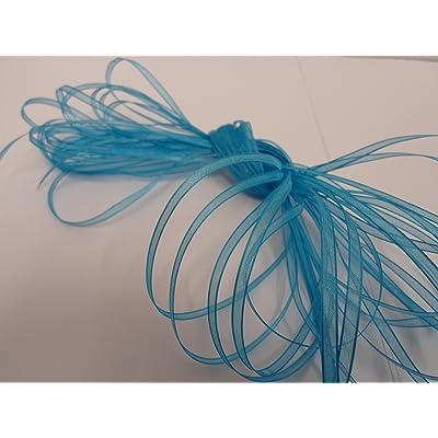 1 rouleau de ruban en organza 3mm pure x 50 mètres, sombre bleu turquoise, double face, faveurs, décorations de mariage, de Pâques, de Noël, de l'artisanat 3 mm