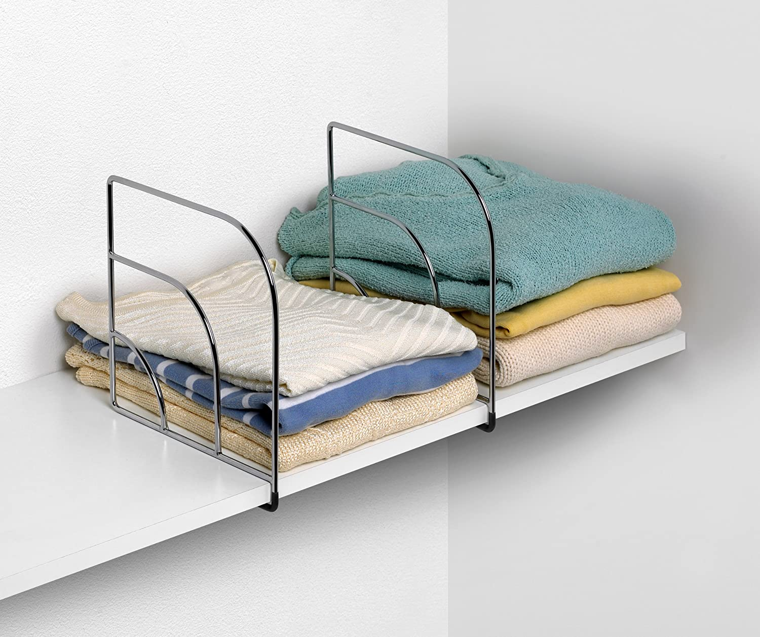 linens wooden pin keep shelf of stacks to tame and tips towels place your organizing shelves divided sweaters closet diy be help space will dividers clothing adding bed in
