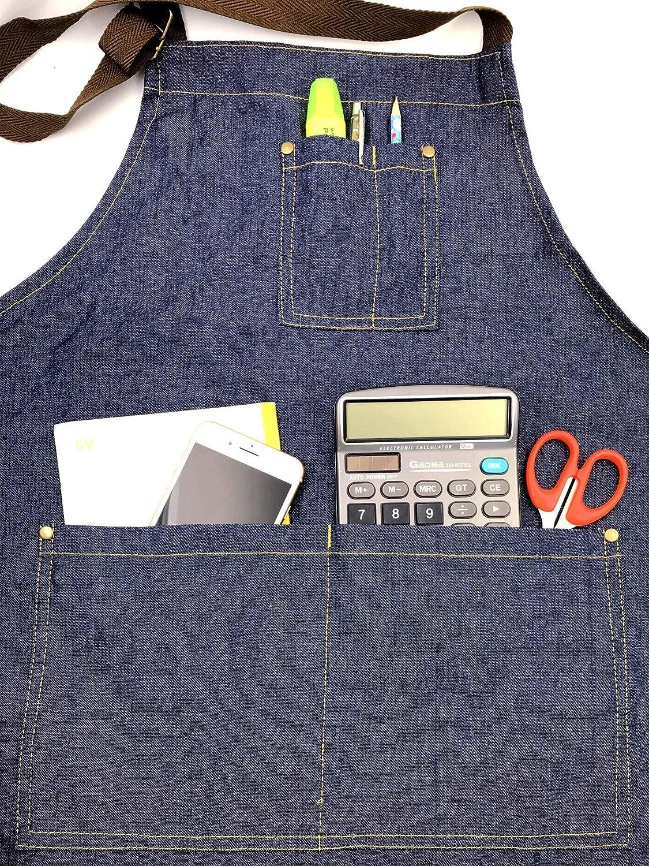 JZK 2 x Regolabile Denim Jeans Grembiule Cucina con Tasche Grandi Grembiule Cuoco per Uomo Donna per Cucinare Barbecue Bar trattoria Cameriere