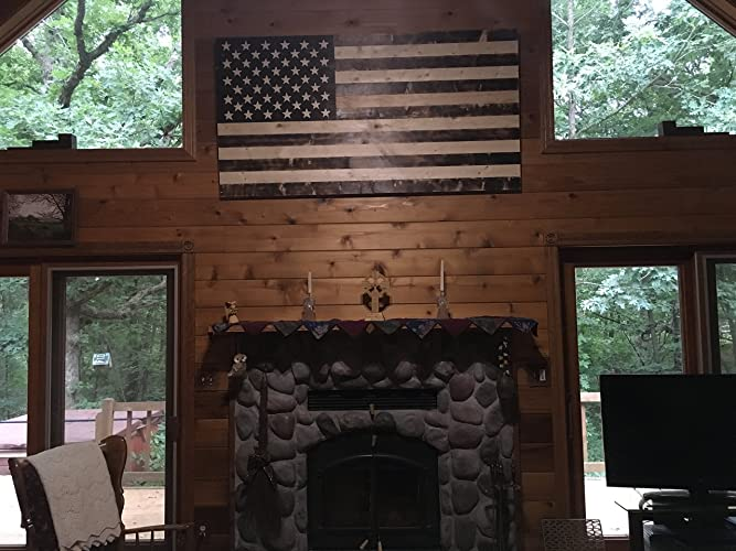 Rustic Wooden American Flag Medium