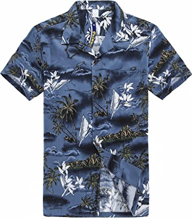 Hombres Aloha camisa hawaiana en Mapa y Paisajes Azul