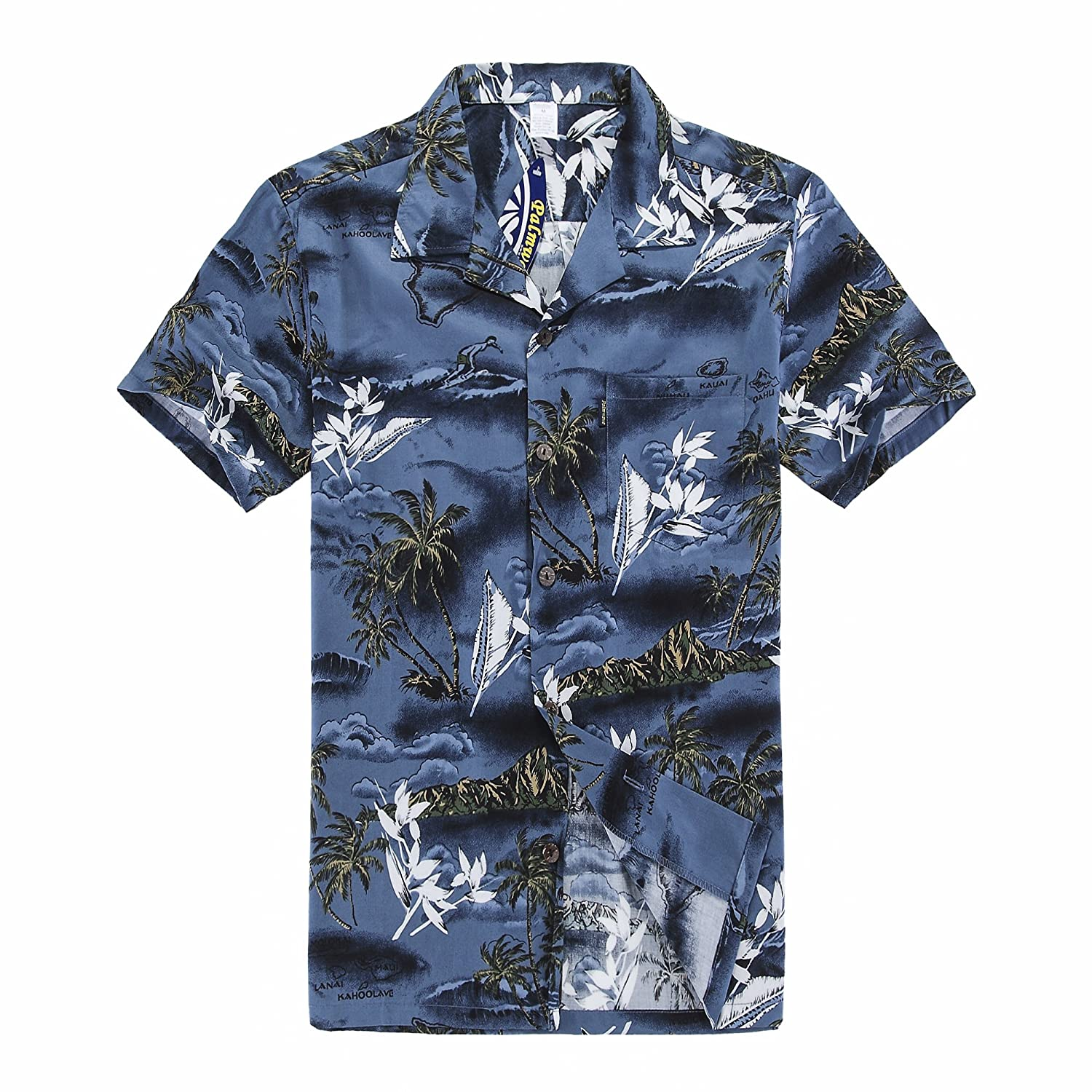 Young Adult Boy Hawaiian Aloha Luau Shirt in Blue Map and Surfer Palm Wave 049107
