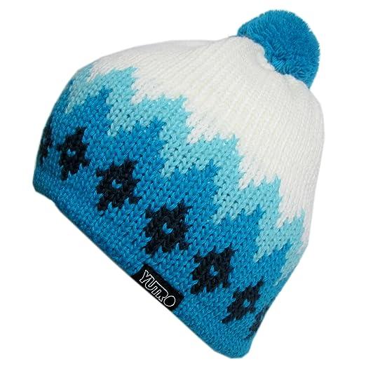 b07ba89149b YUTRO Fashion Women s Thinsulate Fleece Lined Wool Knitted Ski Beanie Hat  WHITE BLUE
