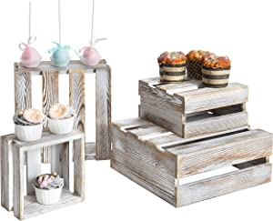 MyGift Shabby Whitewashed Wood Nesting Crate Riser Stands, Set of 4
