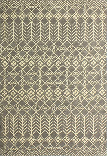 Bashian ST268 Chelsea Collection Hand Tufted 100 Wool Area Rug 3.6 x 5.6 Grey