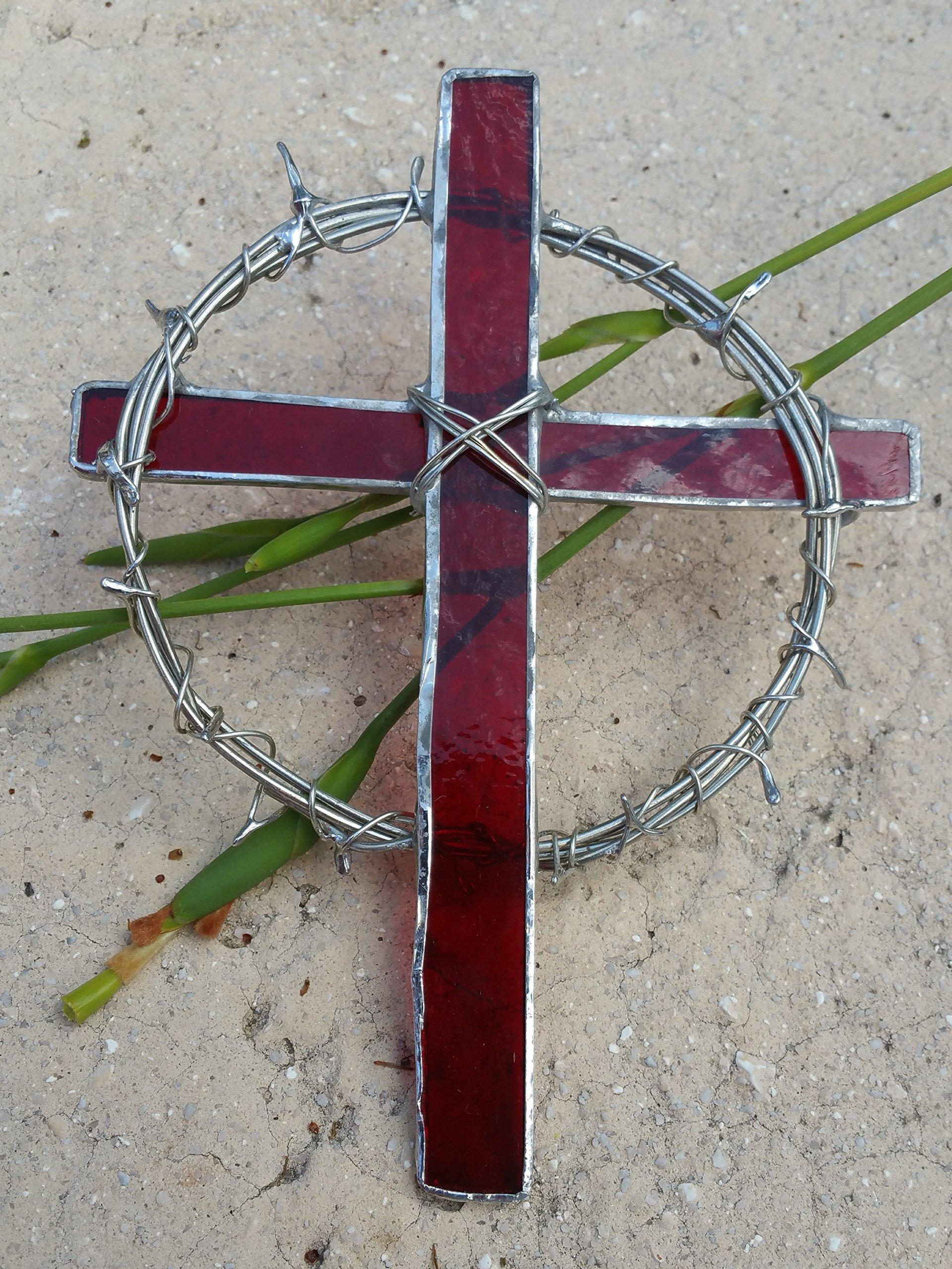 Handmade Stained Glass Crown of Thorns Cross Red Suncatcher Window Spirit Ornament