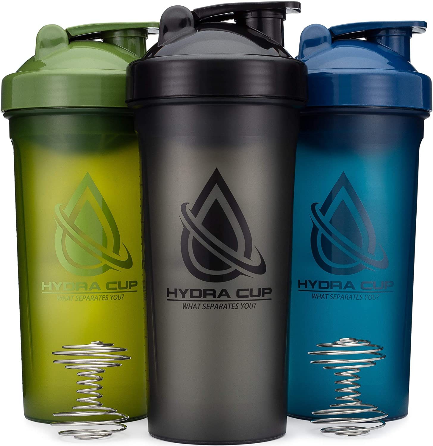 3 PACK - Extra Large Shaker Bottle, 45-Ounce Shaker Cup with Dual Mixers for Blending Protein, from Hydra Cup