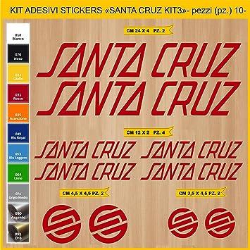 Kit Pegatinas Stickers Bicicleta Santa Cruz -Kit 3-10 Piezas- Bike Cycle Cod. 0893 (031 Rosso): Amazon.es: Deportes y aire libre