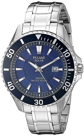 ff725b4d8 Pulsar Men's PX3067 Solar Dress Analog Display Japanese Quartz Silver Watch