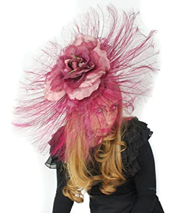 b9a018c70efcf Hats By Cressida Beautiful Ascot Derby Large Ostrich Feathers Fascinator  with Silk Flower - Burgundy at Amazon Women s Clothing store