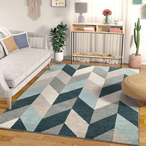 Well Woven Selene Herringbone Chevron Geometric Soft Blue Grey Area Rug 8×11 7 10 x 9 10