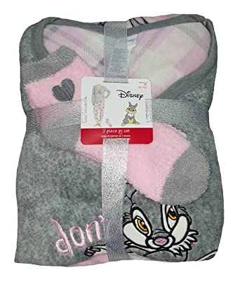 Fashion Disney Bambi Thumper Gray 3 Piece Fleece Pajama Sleep Set w/Socks - Small