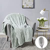 """MP2 Heated Throw Blanket Electric Lap Blanket Faux Fur to Microlight 50"""" x 60"""" with 3 Heating Levels 2 Hours Auto Off for Home and Office Use Machine Washable UL Certified, EMF Radiation Safe, Aqua"""