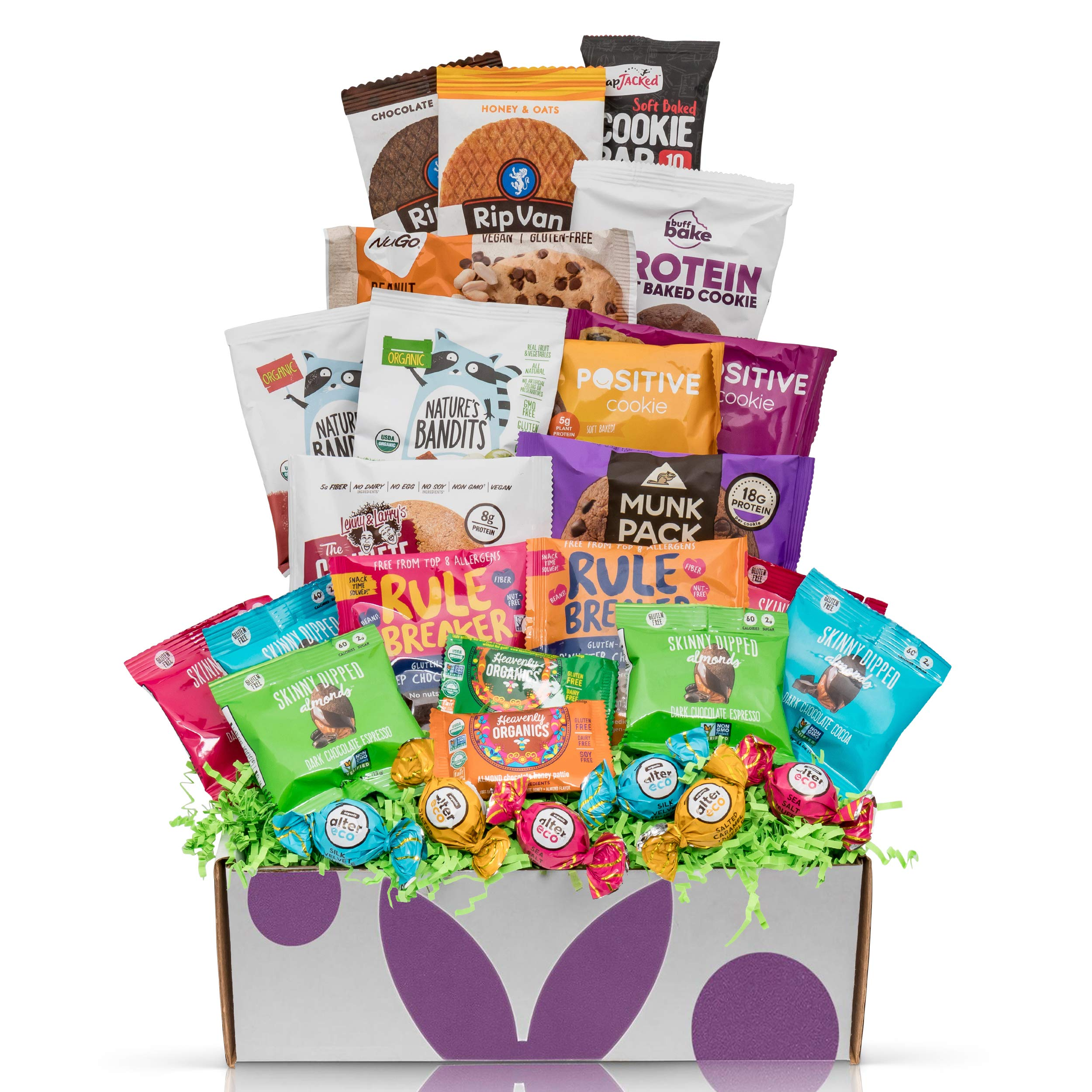 Happy Birthday Gift, Natural, Organic, Non-Gmo Verified, Healthy Snacks Assortment, Gourmet Food Gift Basket (28 Count)