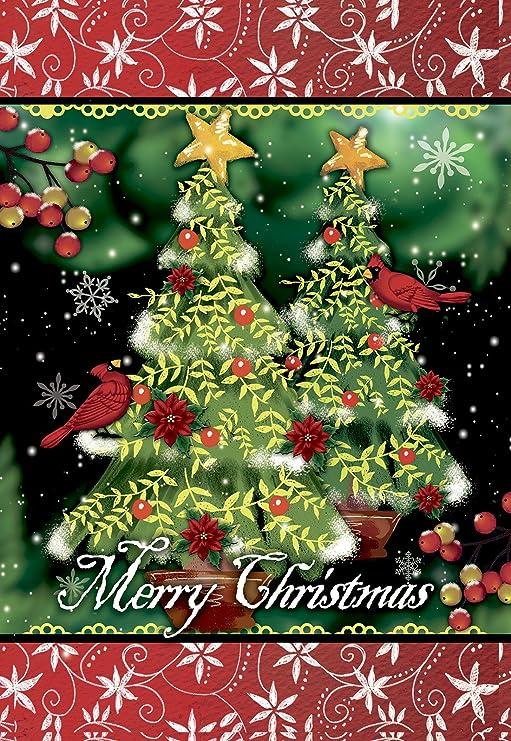 morigins, doble cara de feliz árbol de Navidad Invierno vacaciones jardín bandera 12, 5