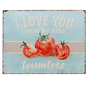 "Barnyard Designs I Love You from My Head Tomatoes Funny Retro Vintage Tin Bar Sign Country Home Decor 13"" x 10"""