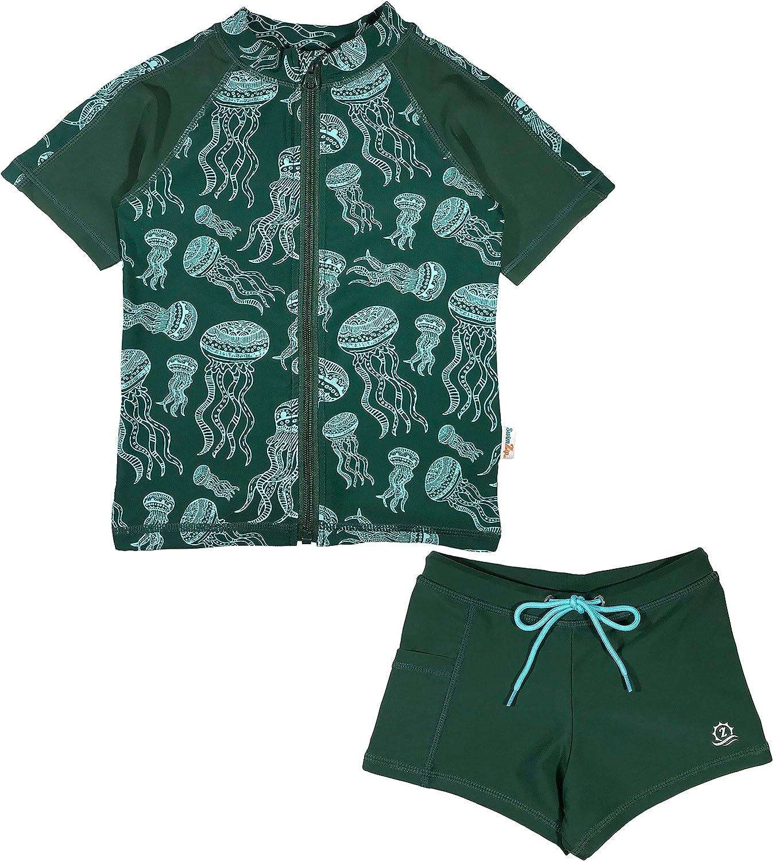 SwimZip Kid's Short Sleeve Rash Max 68% OFF Guard Swim + Set Sale special price Shorties Euro -