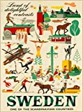 A SLICE IN TIME Land of Delightful Contrasts Sweden One of The Scandinavian Countries Vintage Travel Advertisement Art Collectible Wall Decor Poster Print. Poster Measures 10 x 13.5 inches