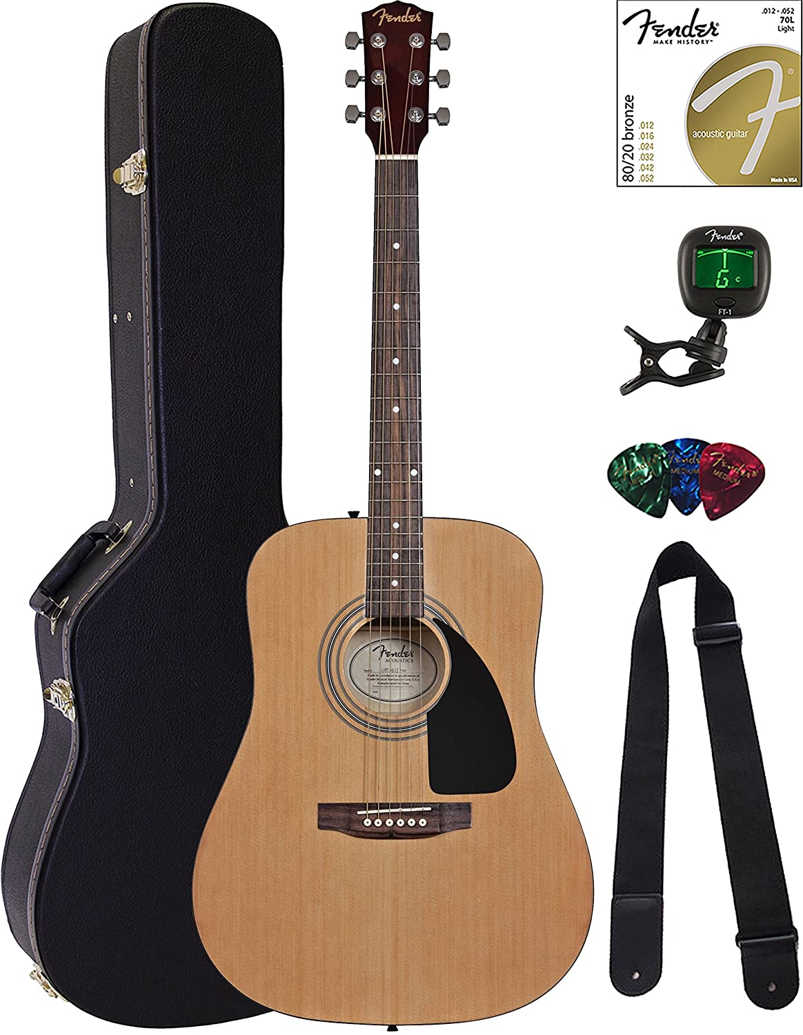Fender FA-115 Dreadnought Acoustic Guitar - Natural Bundle with Hard Case, Tuner, Strings, Strap, and Picks