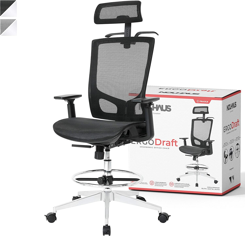 NOUHAUS ErgoDraft Drafting Chair, Tall Office Chair, Shop Stool Chair or  Standing Desk Chair. Adjustable Chair (Black)