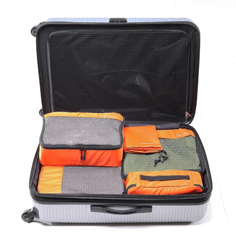 5点セット撥水旅行荷物オーガナイザーパッキングキューブストレージバッグ オレンジ B0756PKSSH オレンジ