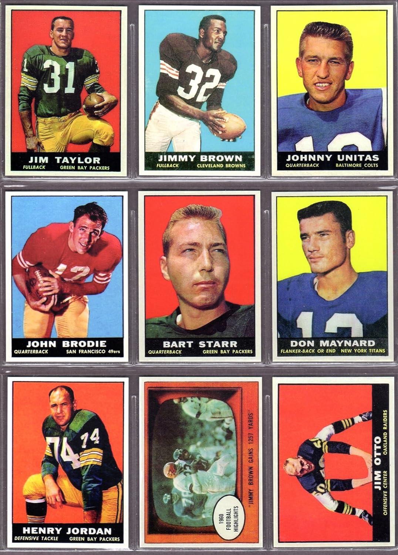 Jim Brown Highlights >> 1961 Topps Football 9 Card Reprint Lot Featueing Jim