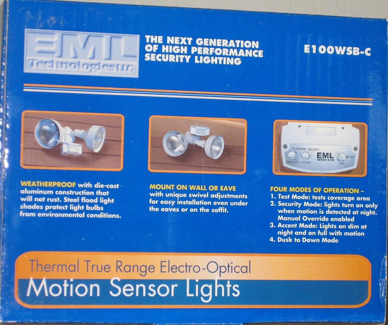 Eml technologies llc thermal true range electro optical motion eml technologies llc thermal true range electro optical motion sensor lights e100wsb c w2 120 watt bulbs amazon garden outdoors aloadofball Image collections