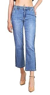 Toxik3 Femme Jean Flare Court Pantalon Trompette Bandes latérales Taille du  XS au XL 5efe7feaaca9
