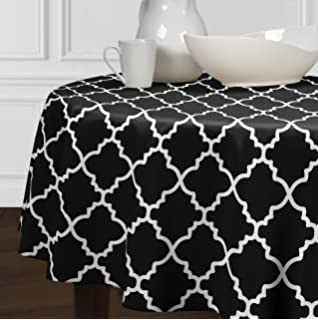 Black And White Round Trellis Tablecloths For Dining Area And Kitchen (72 Part 33
