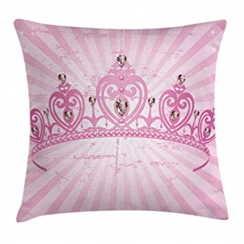 Ambesonne Queen Throw Pillow Cushion Cover, Childhood Theme Pink Heart Shaped Princess Crown on Radial Backdrop Romantic, Decorative Square Accent ...
