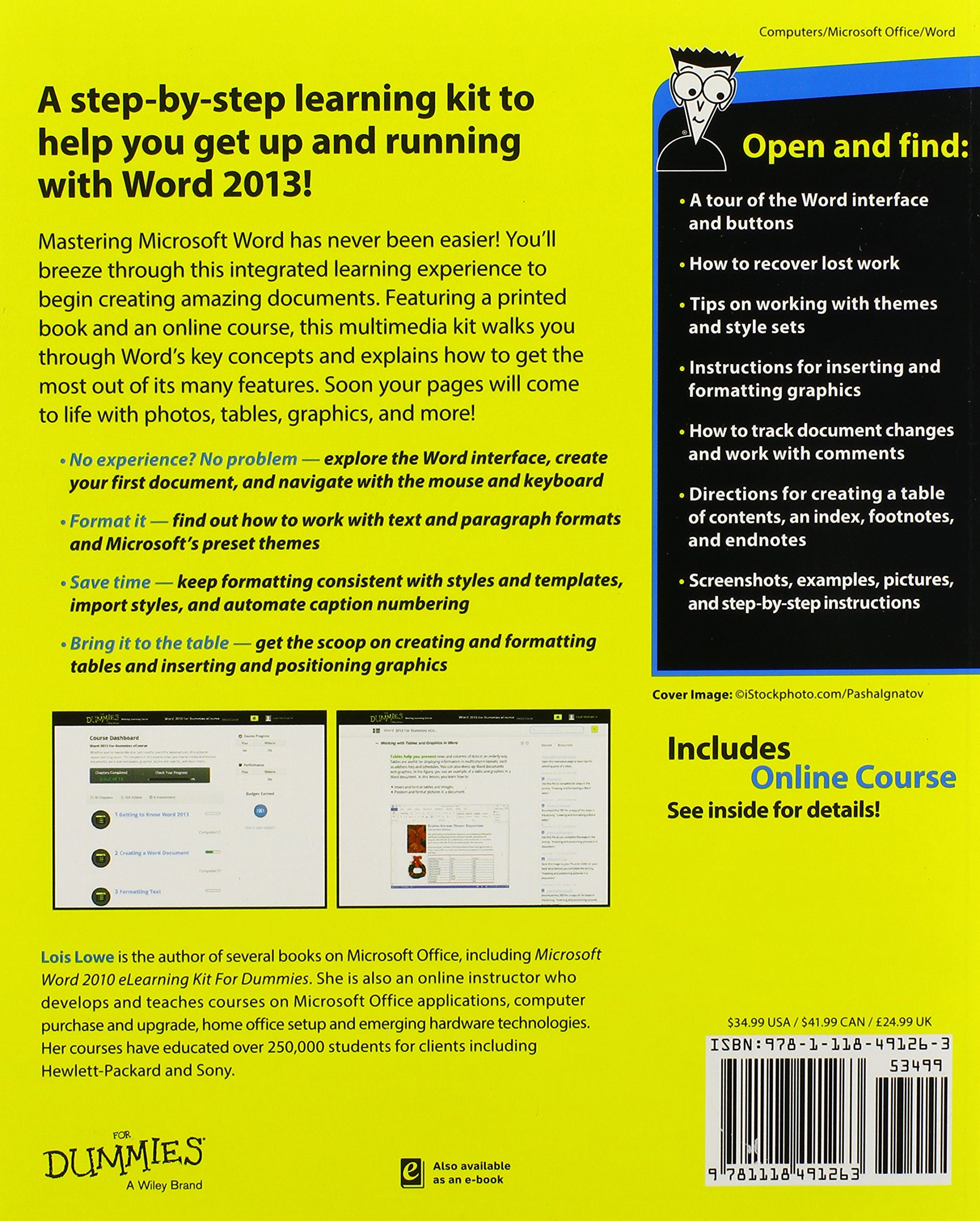 Word 2013 eLearning Kit For Dummies (For Dummies (Computers)):  Amazon.co.uk: Lois Lowe: 9781118491263: Books