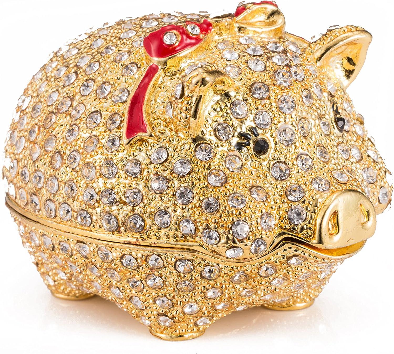 qfiu QIFU Hand Painted Enameled Cute Pig Decorative Hinged Jewelry Trinket Box Unique Gift Home Decor