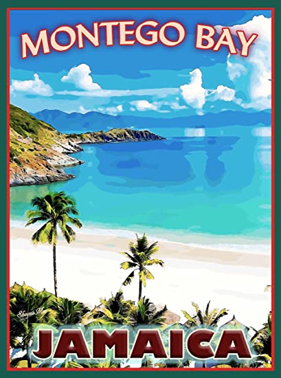 Montego Bay Jamaica Caribbean Islands Island Travel Advertisement Art Poster Print Measures 10 X 135