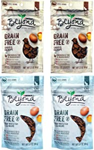 Purina Beyond Grain Free Ocean Whitefish & Egg Recipe (2 Pack), Grain Free Chicken & Egg Recipe Natural Cat Snacks (2 Pack). Variety Pack 4 Count Total