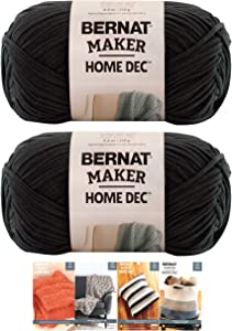Bernat Maker Home Dec Corded Yarn Bundle 2 Skeins with 4 Patterns 8.8 Ounce Each Skein (Black)