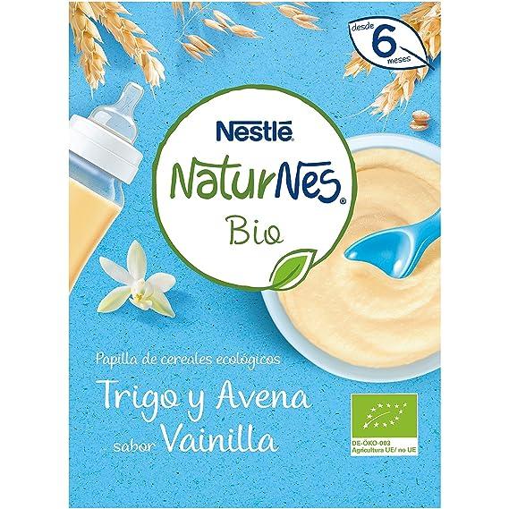 Nestlé Naturnes Bio - Papilla de cereales Trigo y Avena sabor Vainilla - Alimento Para bebés