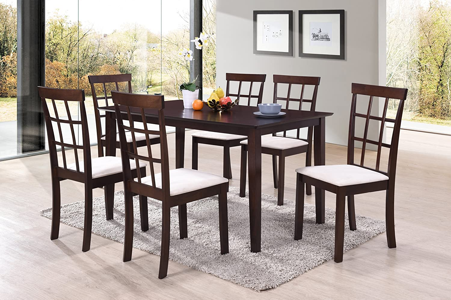 Harper Bright Designs 7 Piece Dining Set Rubber Wood Construction 4 Person Dining Table with Microsuede Upholstered Chairs 7 Piece