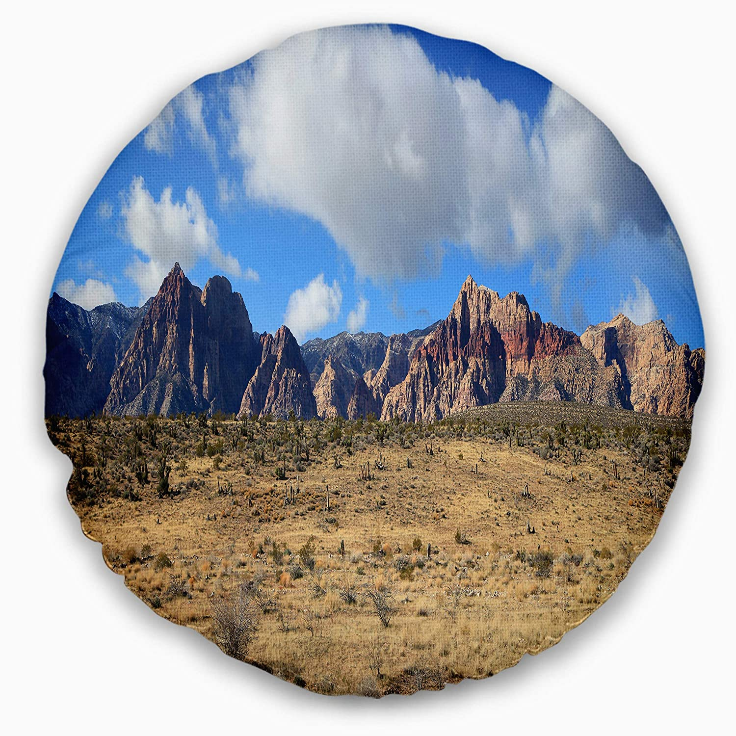 Sofa Designart CU15281-20-20-C Red Rock Canyon Landscape Printed Throw Cushion Pillow Cover for Living Room 20 Round